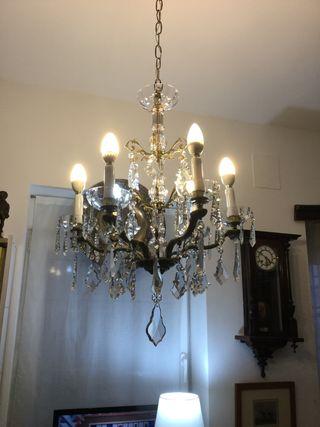 Lámpara araña Cristal bronce