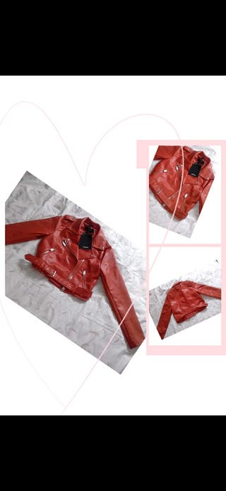 PullnBear Red leather jacket