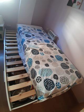 cama doble con dos cajones ikea