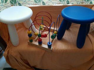 2 taburetes infantiles y juego motricidad IKEA