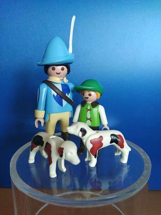 Playmobil halconero y niño medieval con perros