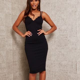 Black midi dress in bodycon fit with double straps