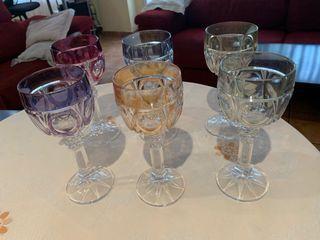 Seis copas de vino de cristal de Dresden, Bohemia