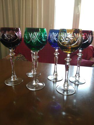 6 copas de licor de cristal de Dresden, Bohemia