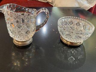 Jarrita y bol de cristal tallado y pie de plata