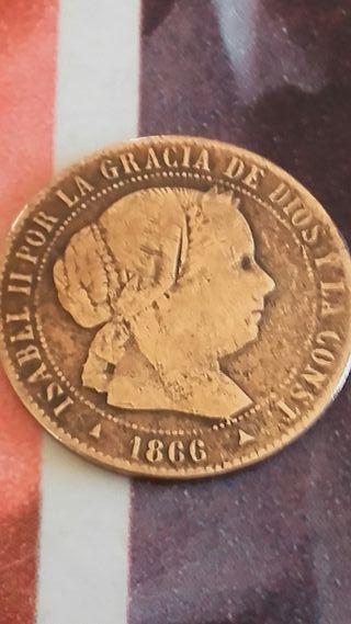 medio centimo de escudo de isabel segunda de 1966.