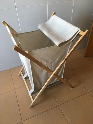 Cesto para la ropa en bambú y lino