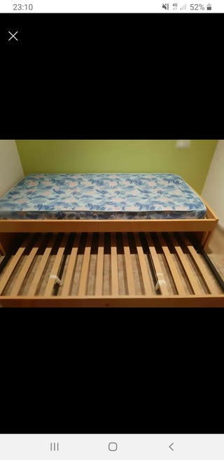 Cama Nido 90x190 cm.Base Tapizada+Somier y colchón