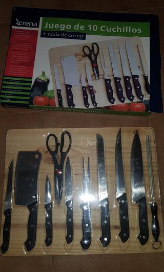 juego de cuchillos con tabla nuevos