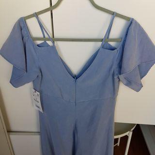 Vestido azul tirantes y mangas
