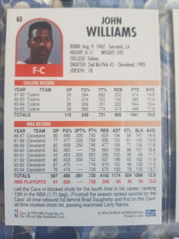 Trading card JOHN WILLIAMS (Cleveland) #40
