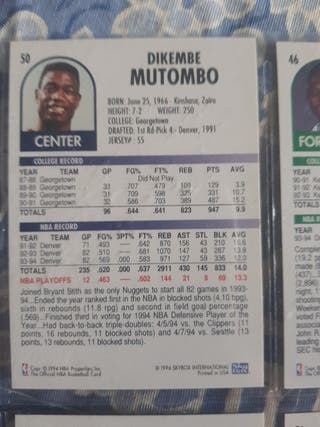 Trading card DIKEMBE MUTOMBO (Denver Nuggets) #50