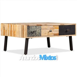Mesa de centro de teca maciza reciclada 90x65x40 c