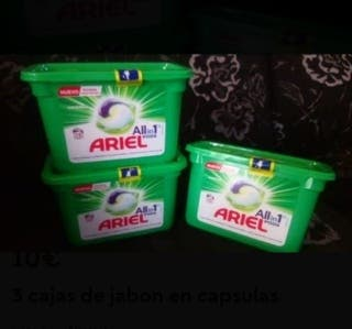 3 cajas de jabon en capsulas