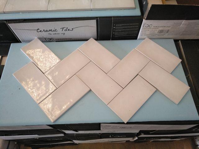 azulejo porcelanico metro blanco brillo envejecido