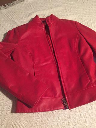 """Chaqueta de cuero rojo """" vintage """"Cortefiel"""