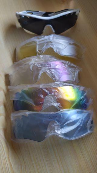 Gafas deportivas polarizadas con 5 lentes.