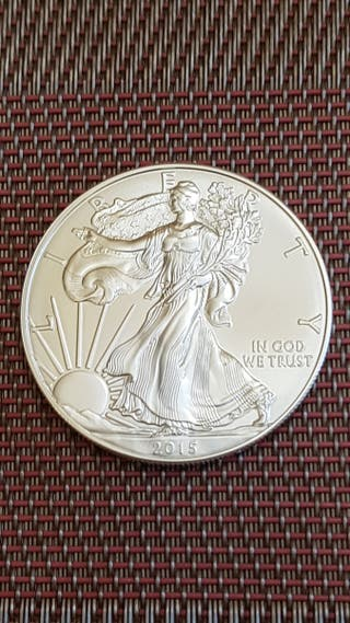 Moneda 1 Onza Plata Pura. Liberty 2015. USA