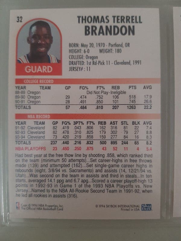 Trading card TERRELL BRANDON (Cleveland) #32