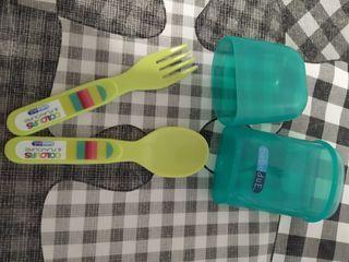 set cuchara y tenedor de viaje para niños
