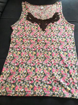 Camiseta sin mangas flores de colores