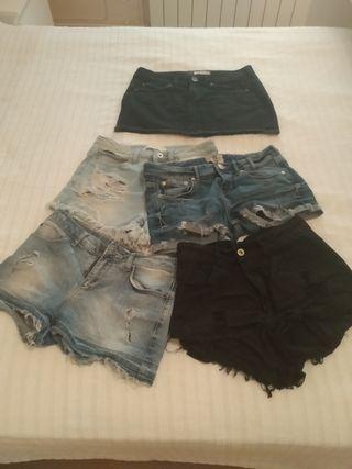 Pack de 4 pantalones cortos y 1 falda