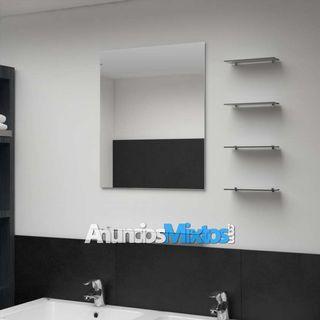 Espejo de pared con 5 estantes plateado 50x60 cm