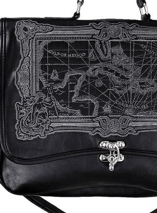 RESTYLE Cartera Bolso Gótico Steampunk Mapa Negro