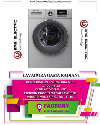 LAVADORA EAS ELECTRIC INOX 8KG 1400RPM A+++