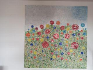 cuadro de flores sobre un gres porcelanico