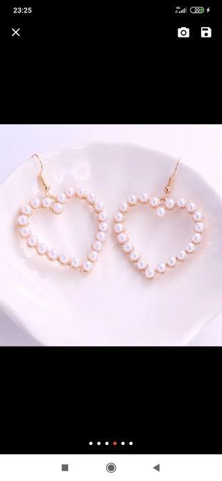 pendientes perla corazon