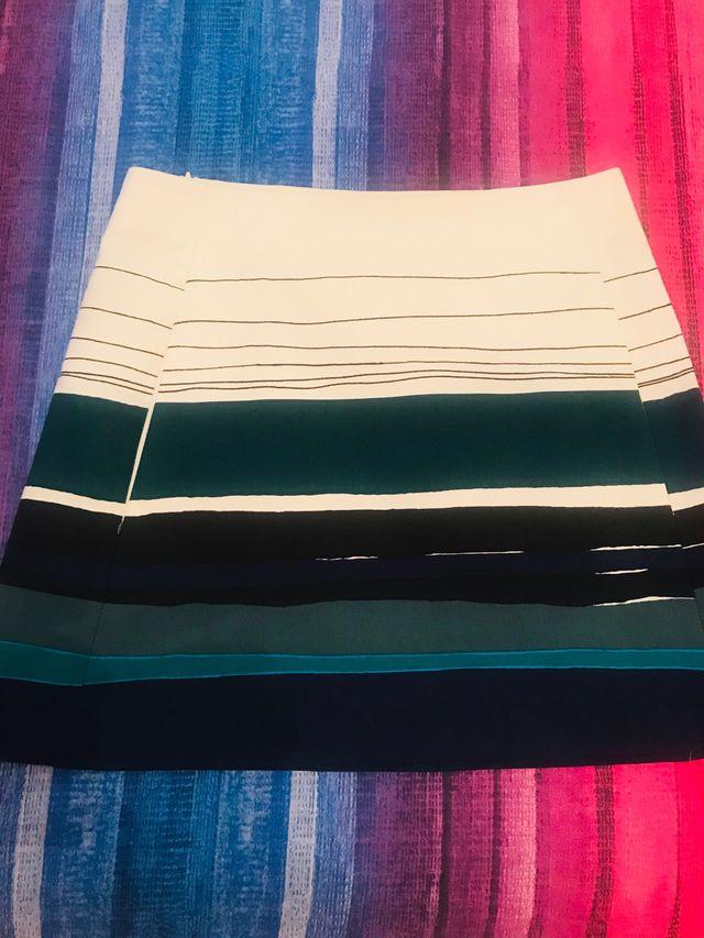 Minifalda de Zara crudo/verde/azul