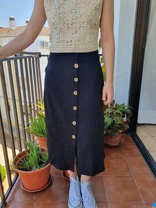 Falda Negra Botones S
