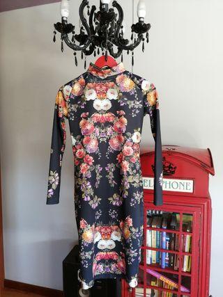 vestido midi estampado flores M 38 Zara