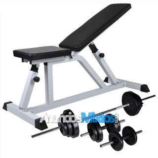 Banco de musculación con pesas y mancuernas 30,5 k
