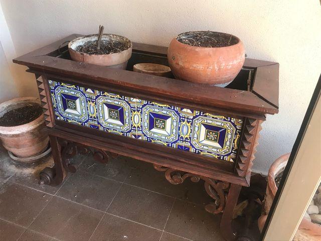 Macetero porcelana y maderaOPORTUNIDAD