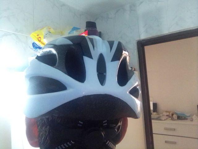 Casco bicicleta MTB talla M 55-60cm blanco y negro