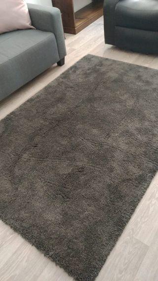 Alfombra gris pelo medio largo 135*185cm