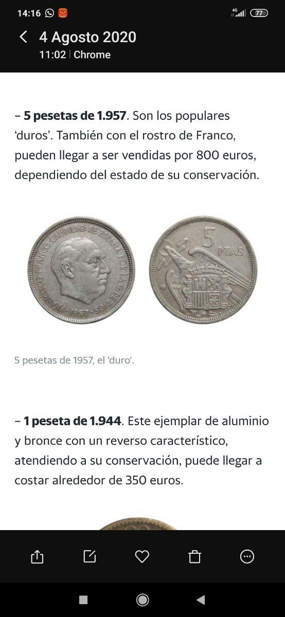 Moneda de 5 pesetas año 1957