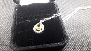 Pear Natural Peridot 925 Sterling Silver Necklac