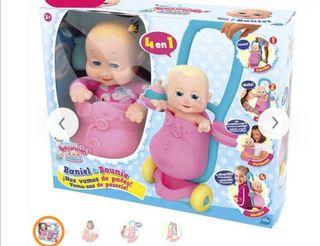 Muñeco bebé con carrito y accesorios