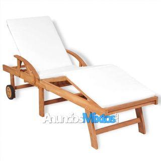 Tumbona con cojín madera maciza de teca