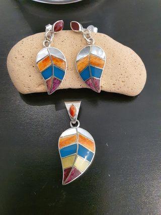 Juego artesanal de plata peruana 950