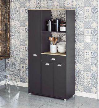 Buffe alto gris grafito con 3 puertas y 1 cajon