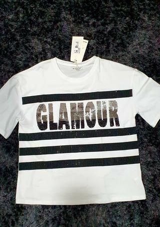 camiseta Bluoltre con lentejuelas y strass nueva