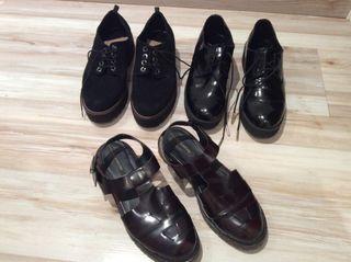 Los 3 pares zapatos x 12 euros Stradivarius y Pull