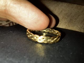 Alianza o anillo para mujer trenzado oro 18K