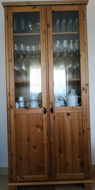 Vitrina madera, estantería, mueble salón alacena