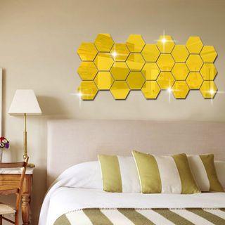 Pegatinas de pared hexagonales 3D para espejo