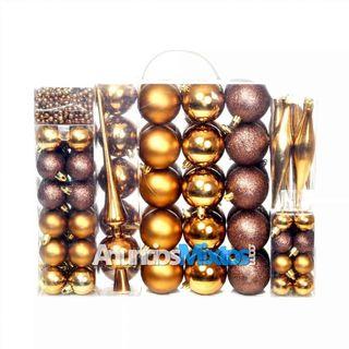Lote de bolas de Navidad 113 unidades 6 cm marrón/